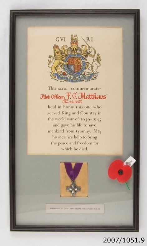 Memorial Cross and scroll (framed)