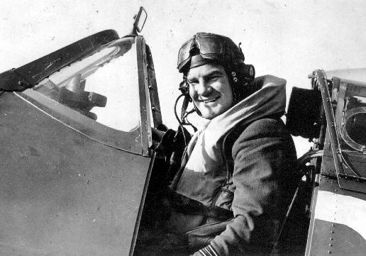 Wing Commander Alan Deere in the cockpit of his Spitfire.
