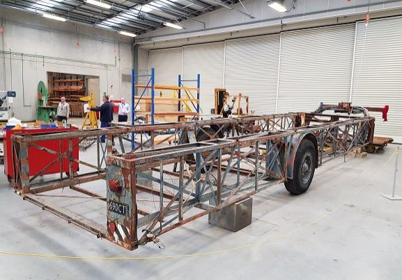 RNZAF Queen Mary trailer under restoration at the Air Force Museum of New Zealand, Aug 2020.